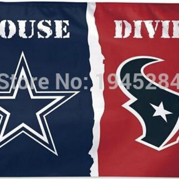 Dallas Cowboys Houston Texans House Divided Flag New 3x5ft 90x150cm Polyester Flag Banner NFL , free shipping