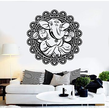 Vinyl Wall Decal Ganesha Hindu Elephant God Hinduism Lotus Flower Stickers Unique Gift (155ig)