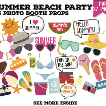 Summer beach party Photo booth props set - 55 piece printable, photobooth, pool party, holidays party props set - PDF INSTANT DOWNLOAD