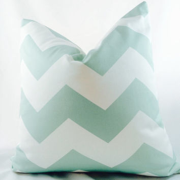 Mint green and white chevron pillow slipcover