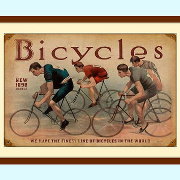 Bicycle Wall Art, Bicycle Print, Bicycle Decor, Vintage Wall Decor, Metal Wall Art, Vintage Art, Vintage Decor, Rustic Wall Decor