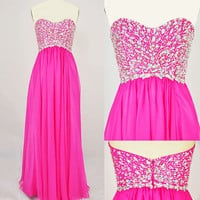 Strapless Sweetheart with Beading Chiffon Long Pink Prom Dress