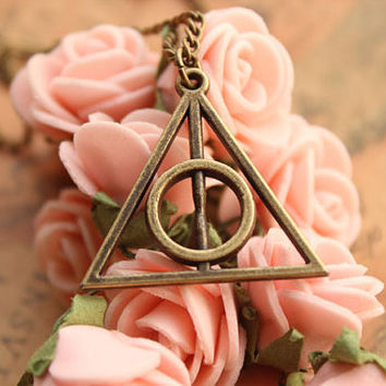 harry potter necklace,retro bronze Deathly Hallows pendant necklace---N041