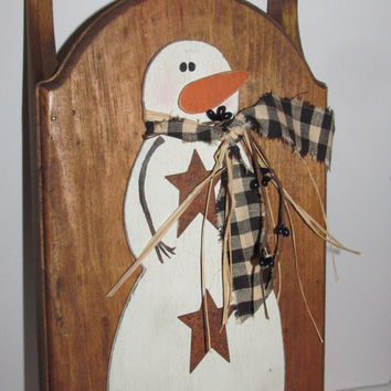 Rustic Primitive Snowman Wooden Sled Primitive Christmas Decor Rusty Stars and Homespun Fabric Primitve Rustic Decor