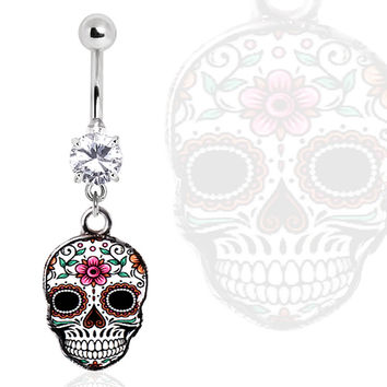 316L Surgical Steel Glass/Gemmed Navel Ring with White Sugar Skull Dangle