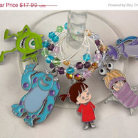 Monsters Inc. inspired wine glass charms set of 5 Disney movie charms handmade wine charms party chibi JPOP wine charms