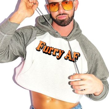 Furry AF Crop Long Sleeve Raglan Hoodie-Green