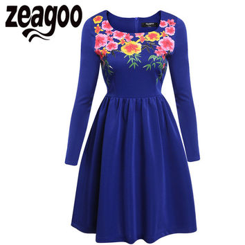 Zeagoo Floral Print Vintage Dress Women Backless Sexy Evening Party Flowers Dress Plus Size 1950s Elegant Rockabilly Swing Dress