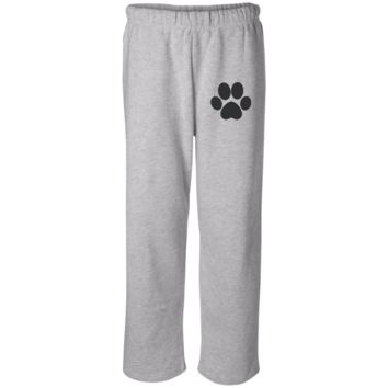 Paw Print Open Bottom Sweat Pant with Pockets