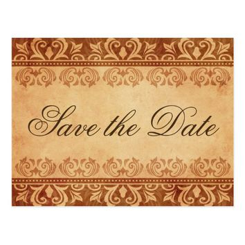 Chic brown grunge damask Save the Date postcard
