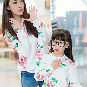 floral sweater for mother and daughter