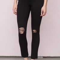 Blown-Out Black Ankle Retro High Waist Jegging