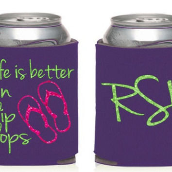 Custom Summer Koozie, Life is Better in Flip Flops, Glitter Monogram Koozie, Summer Koozie