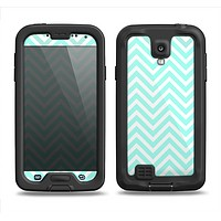 The Light Teal & White Sharp Chevron Samsung Galaxy S4 LifeProof Nuud Case Skin Set