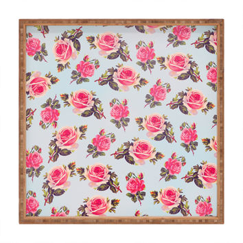 Allyson Johnson Pink Roses Square Tray