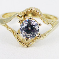 White CZ 14k Yellow Gold Textured Ring, Solid 14 Karat Gold Ring, White CZ Ring, 14k Gold Ring, 14k Yellow Gold April Birthstone Ring