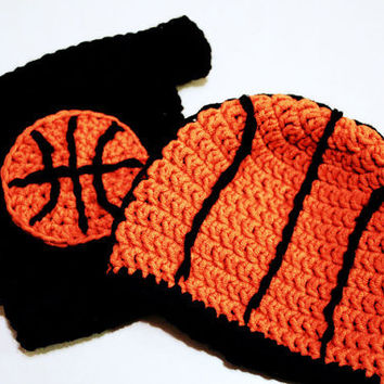 Basketball Hat and Diaper Cover combo for Newborn Baby to 12 Months, crochet photo prop