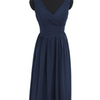 2016 Affordable A-line Sleeveless Dark Navy Long Bridesmaid Dress /Sale!  AM454