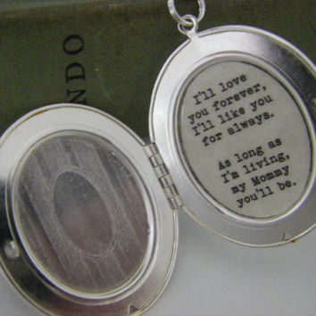 I'll love you forever I'll like you for always Mommy Silver oval  locket gift for her for mom Sterling Chain