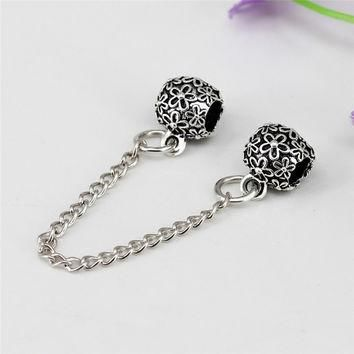 European Cute Flower Safety Stopper Silver Plated DIY Beads Charms Fit Women Pandora B