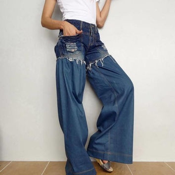 Denim Cotton Ruffle Lace Pants. Unique Bell Bottom Style Blue Jeans (Jeans-R004).