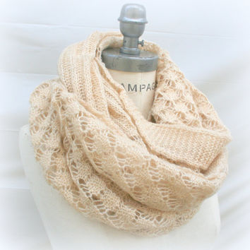 Lace Knit Scarf Chunky Scarf infinity Scarf Best  Seller Winter Scarf - By PiYOYO