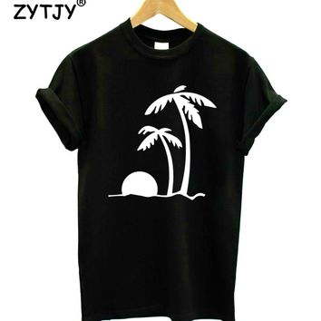 Palm Trees At Sunset Print Women tshirt Cotton Casual Funny t shirt For Lady Girl Top Tee Hipster Tumblr Drop Ship Z-1151