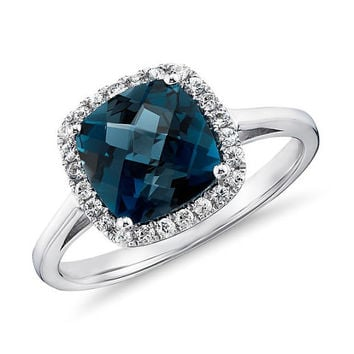 London Blue topaz and Diamonds Halo Cushion Ring in 14K White/Yellow/Rose Gold Engagement Wedding Gift