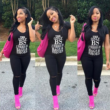 """""""THE ONLY BS I NEED IS BAGS & SHOES"""" Black Top Short Sleeve Tshirt"""