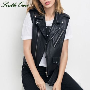 Women Leather Vest PU Soft Vest Ladies tatical Leather Motorcycle Vest Pocket vest waistcoat Rivet colete female WaistCoat Biker