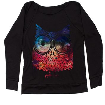Galaxy Night Owl Slouchy Off Shoulder Oversized Sweatshirt