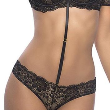 Sexy Metallic Lace Tanga with Ring Back and Removable Choker