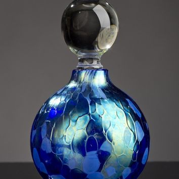 Iridescent Blue Sphere Perfume Bottle by Bryce Dimitruk: Art Glass Perfume Bottle | Artful Home