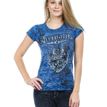 BLUE ANCHOR PRINT TOP WITH RHINESTONES