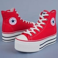 Maxstar C50 7-Holes Zipper Platform Sneakers Red