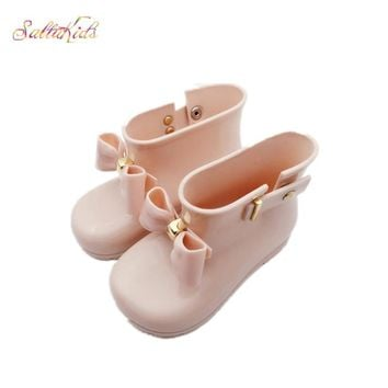 Waterproof Child Rubber Boots Jelly Soft Infant Shoe Girl Boots Baby Rain Boots Kids With Bow Girls Children Rain Shoes Bow BO39