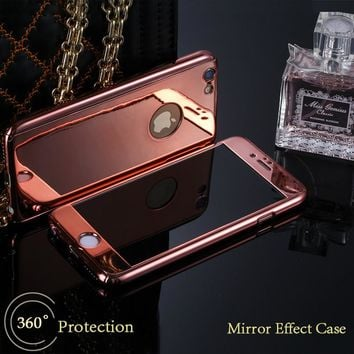 Luxury Armor Case For iPhone 6 6s New 360 Full Body Protection Phone Cases Hard Plating PC Mirror Case + Glass Screen Protector