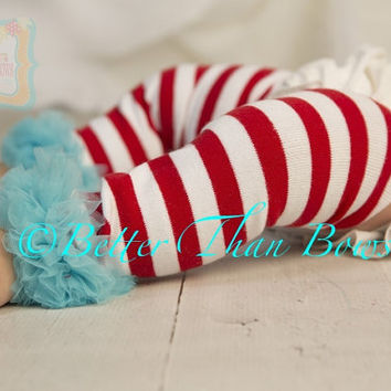 Dr. Suess Red and White Striped Leg Warmers with Aqua Ruffle-Cat in the Hat-Thing 1-Thing 2-Dr. Suess Birthday-Cake Smash