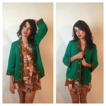 70s CARDIGAN SWEATER - emerald - native inspired design - xsmall/medium