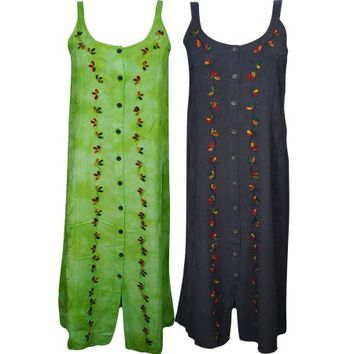 Mogul Womens Long Dress Button Front Embroidered Sleeveless Boho Style Gypsy Hippie Chic Beach Sundress Wholesale Lot Of 2 - Walmart.com