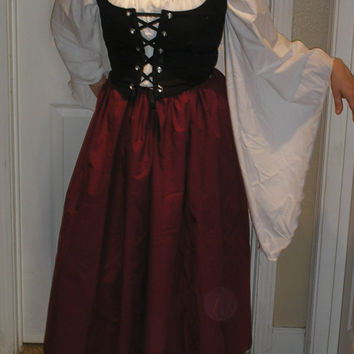Romantic Renaissance Women Full Costume With Fairytale Sleeves Pirate Villager Wedding Theartical Dance Wench