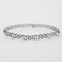 Rhinestone Tattoo Choker Black One Size For Women 25929010001