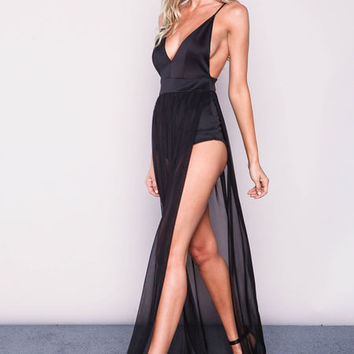 BLACK MESH BODYSUIT MAXI DRESS