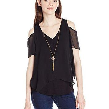 A Byer Womens Young Teen SplitFront Cold Shoulder Top