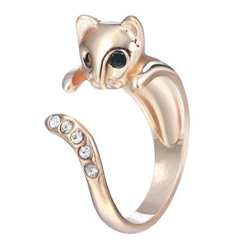 Vintage Beautiful Shining CZ Crystal Cat Animal Rings Gift for Women Girls Unique Christmas Gift Fashion Jewelry