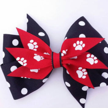 red and black ribbon hair bow, paw print, white, black and red bow, stacked grosgrain ribbon 4 inch bow, layered spike bow, team colors