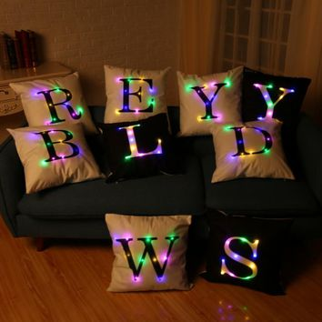 Pillowcase LED Lights Coloured Letter Flannel Pillow Luminescent
