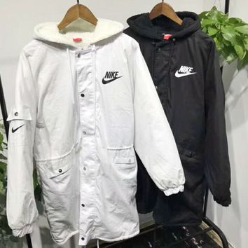 Nike THERMA FLEX Fashion Casual Women Embroider Long Sleeve Wool Zipper Coat White Black G-MG-FSSH