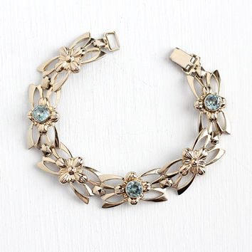 Vintage Zircon Bracelet - 14k Rosy Yellow Gold on Sterling Silver Genuine Blue Gem Flower Panels - 1940s Symmetallic Vermeil Floral Jewelry