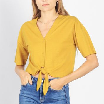 Luca Boxy Tie Front Top